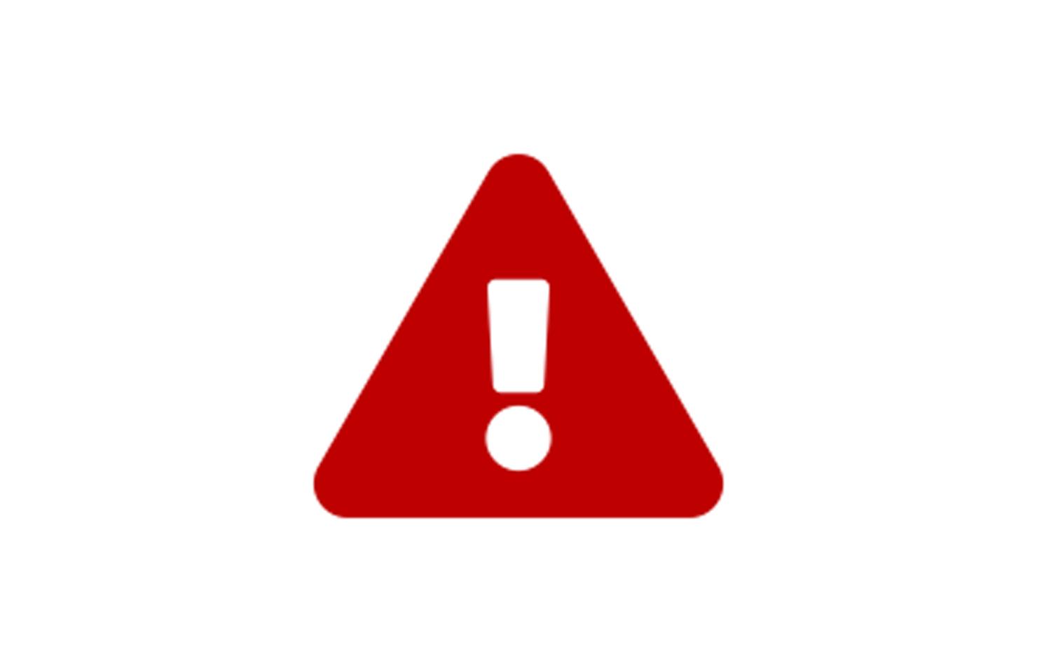 ein Ausrufezeichen auf einem roten Dreieck