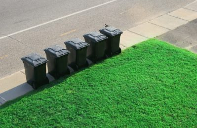 schwarze Mülltonnen aufgereiht am Straßenrand